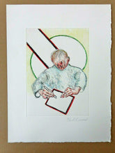 Load image into Gallery viewer, Roger Raveel - Writing boy (hand coloured in pencil)