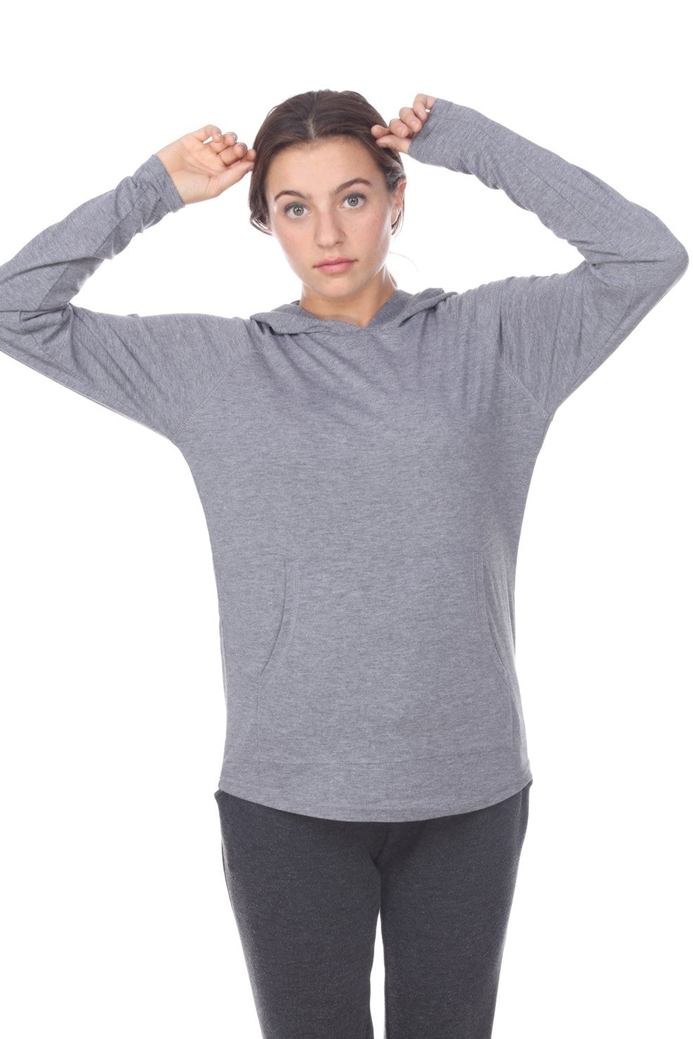 UNISEX Lightweight Pullover Hoodie L/S with Curved Hem