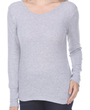 Ladies Long Sleeve Crew Neck, Features Cuff with Exposed Thumb