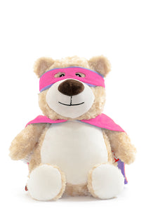 Superhero Bear - PINK CAPE - EMBELLISHING REQUIRED
