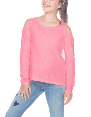 Young Girls Long Sleeve Cold Shoulder Tee 7-16