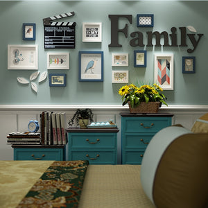 12 Piece Sets Wood Photo Picture Frames Home Decor Modern Room Wall Painting Art Decoration with Wooden Letters Poster Frame