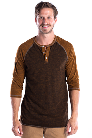Men's 3/4 Sleeve Henley - Over-Dyed