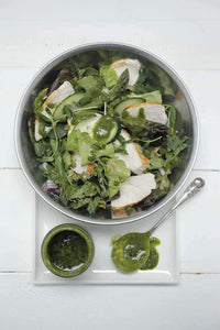 Poached Organic Chicken Salad with Pistachio + Salsa Verde