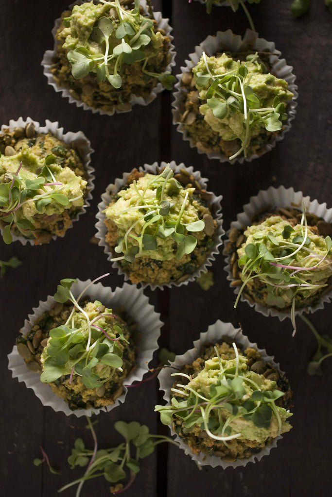 Spinach, Kale + Chia Muffins