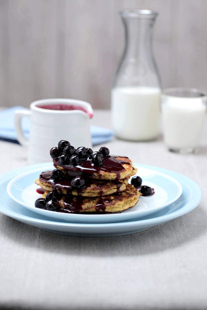Ricotta Pancakes w/ Blueberry Maple Syrup