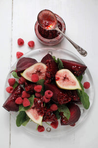 Roasted Beetroot Salad with Fig + Smashed Raspberry Dressing
