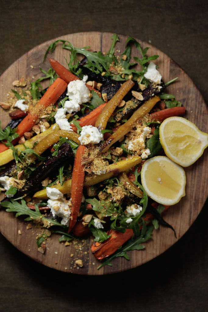 Roasted Carrot With Almond Dukkah + Labne