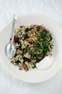 Roasted Cauliflower With Lemon Scented Garden Herbs and Pomegranate