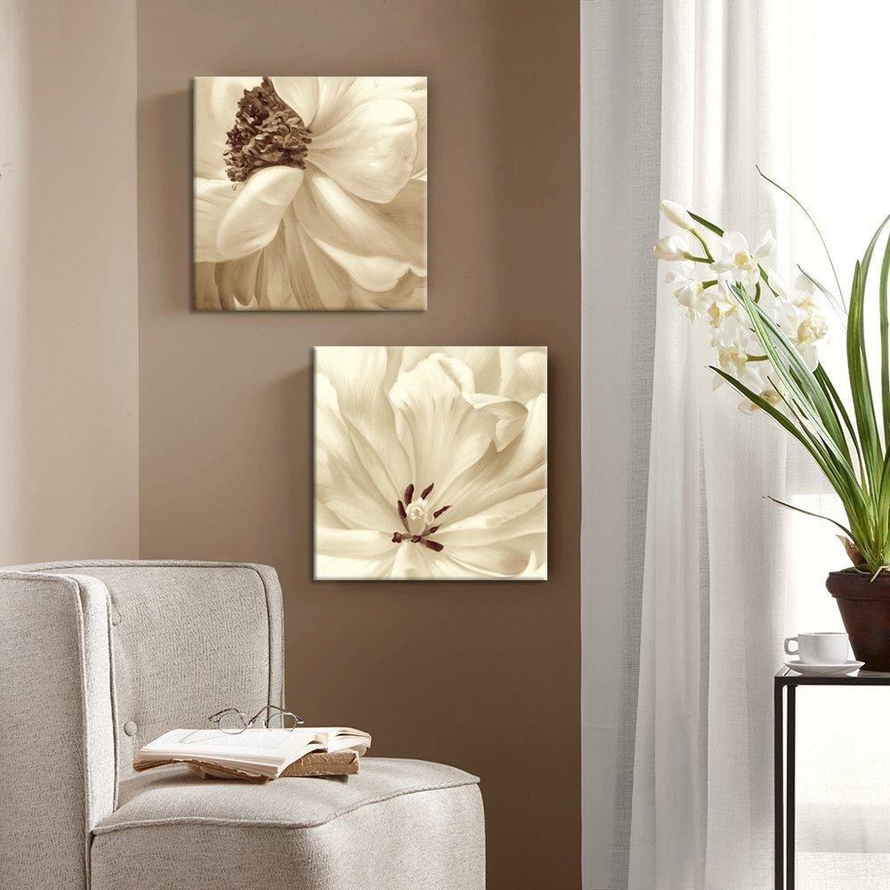 Canvas Print Floral Flower Art Set 24 x 24 Inch x 2 Pcs