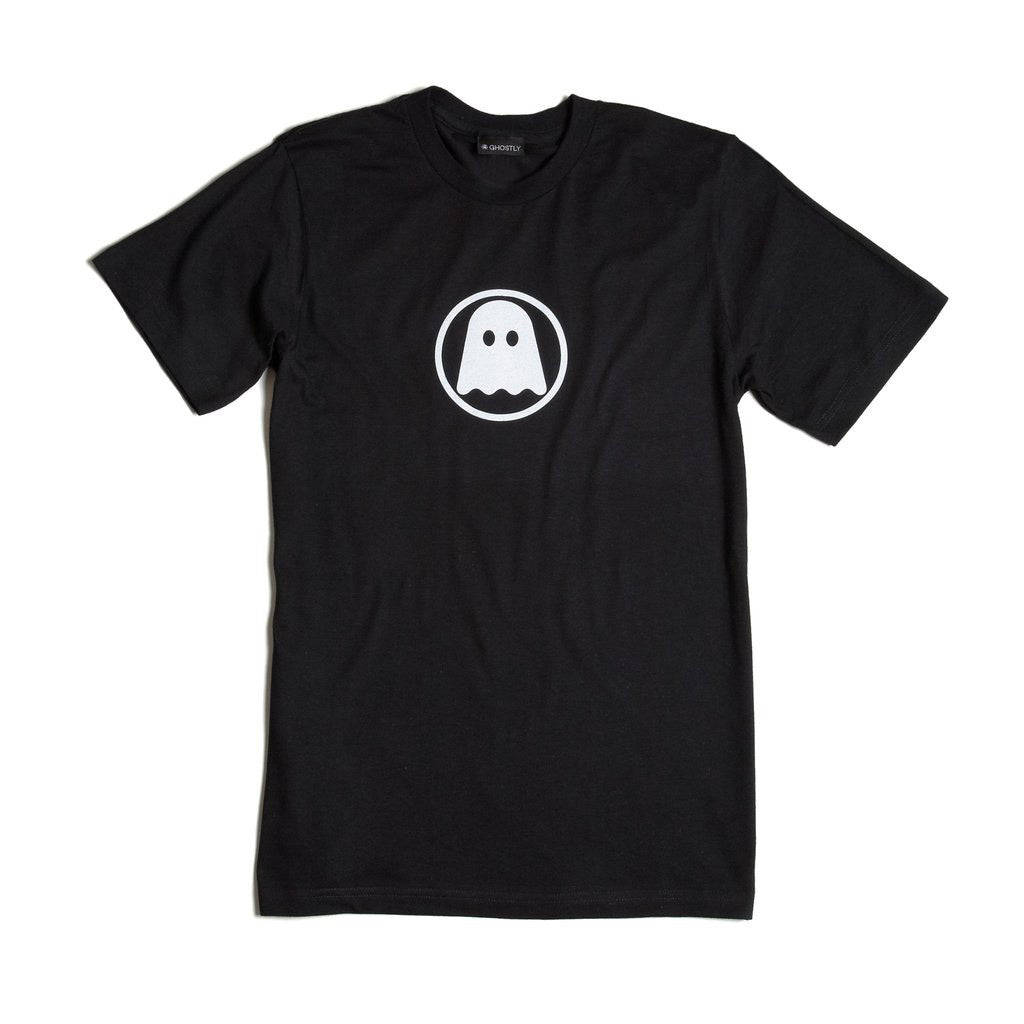 Ghostly Logo Tee - White on Black - International