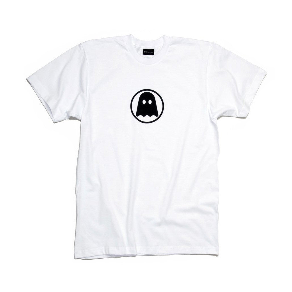Ghostly Logo Tee - Black on White - International