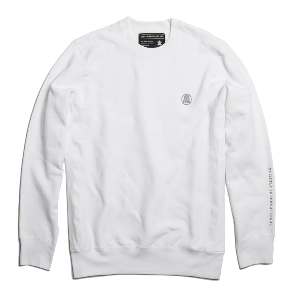 White Embroidered Heavyweight Crewneck
