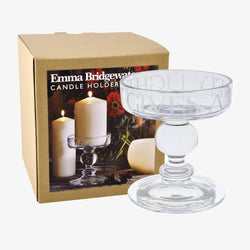Black Toast Glass Medium Candle Holder Boxed