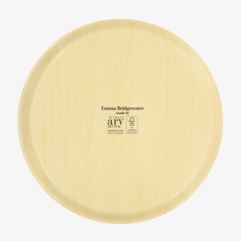 Bright Dahlia Round Wooden Tray