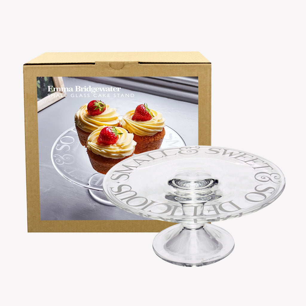 Black Toast Small Glass Cake Stand