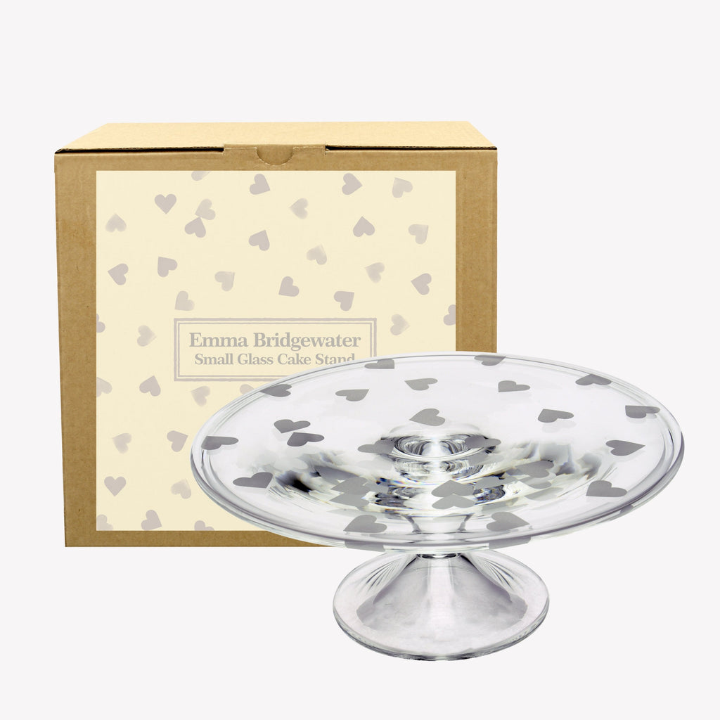Hearts Small Glass Cake Stand Boxed