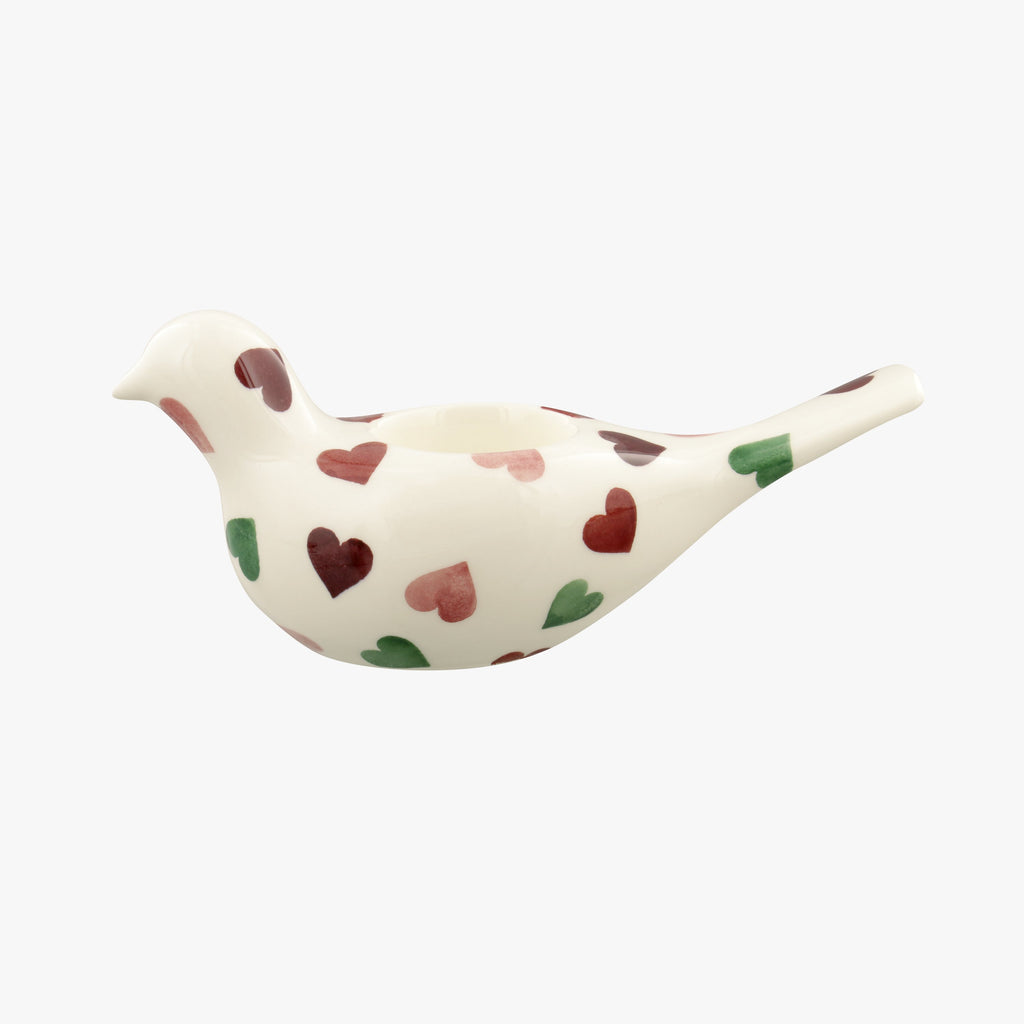 Pink & Green Hearts Dove Candle
