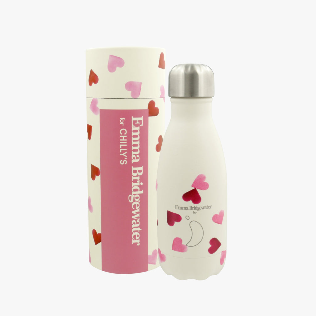 Emma Bridgewater Pink Hearts Insulated Bottle - a handy and eco-friendly stainless steel water bottle decorated with cute pink hearts for keeping your drink cool or hot for hours