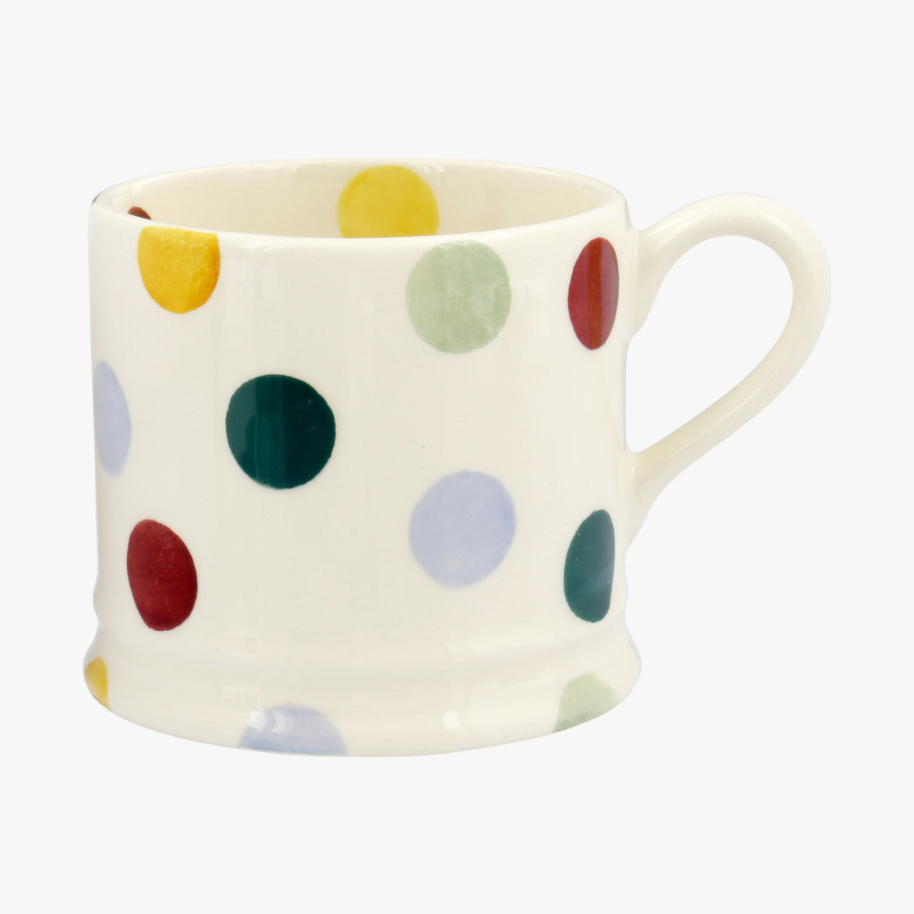 Emma Bridgewater Polka Dot Small Children's Mug - Handmade from high quality English Earthenware designed with colourful hand painted polka dots. Great for kids hot chocolate and milk ...and tea parties!