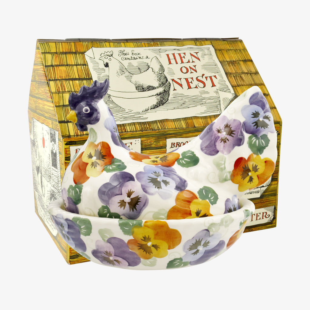Purple Pansy Hen on Nest Boxed