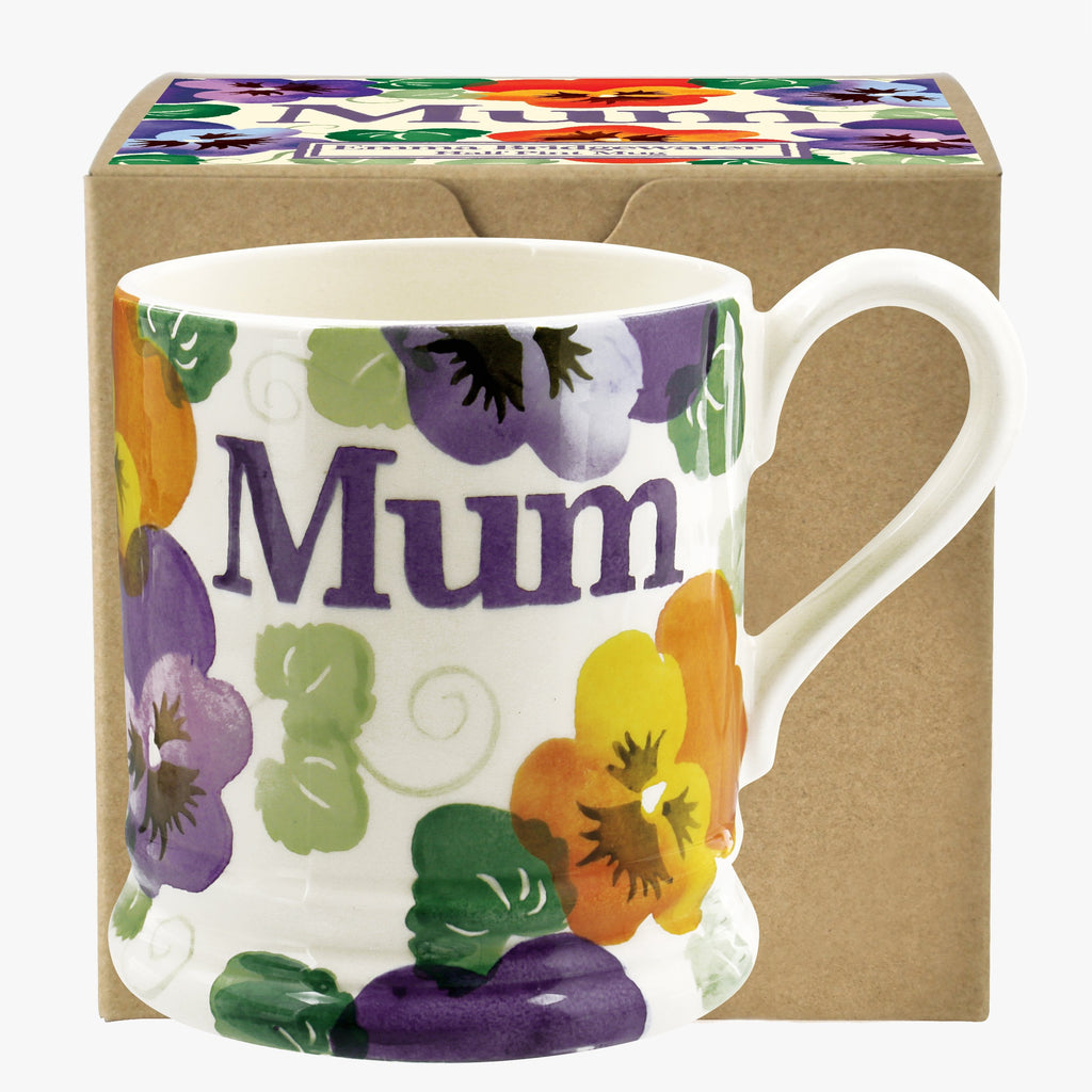 Purple Pansy 'Mum' 1/2 Pint Mug Boxed