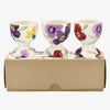 Purple Wallflower Set of 3 Egg Cups Boxed