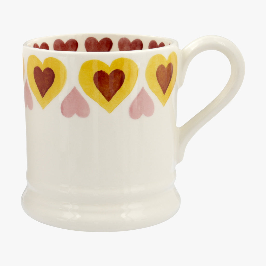Yellow Hippy Hearts 1/2 Pint Mug