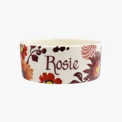 Personalised Bright Dahlias Small Pet Bowl