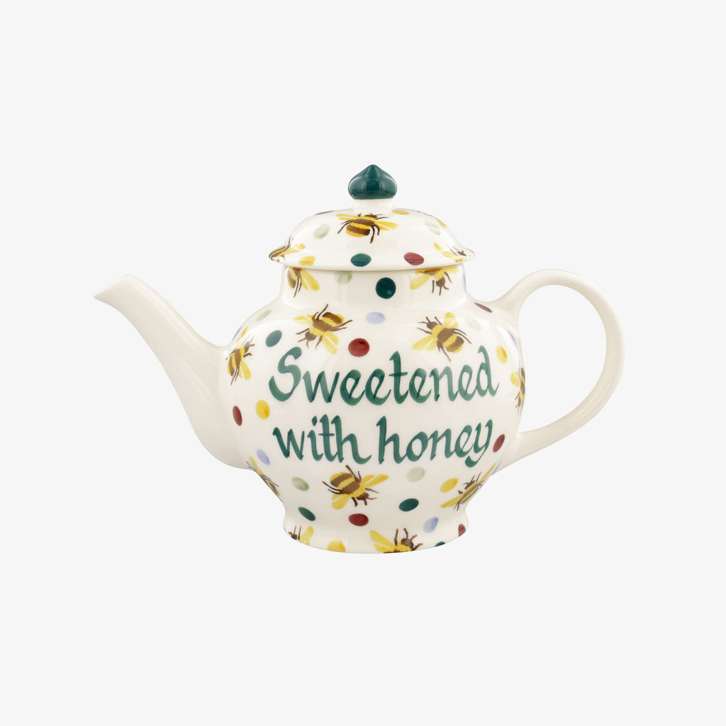 Personalised Bumblebee & Small Polka Dot 2 Mug Teapot