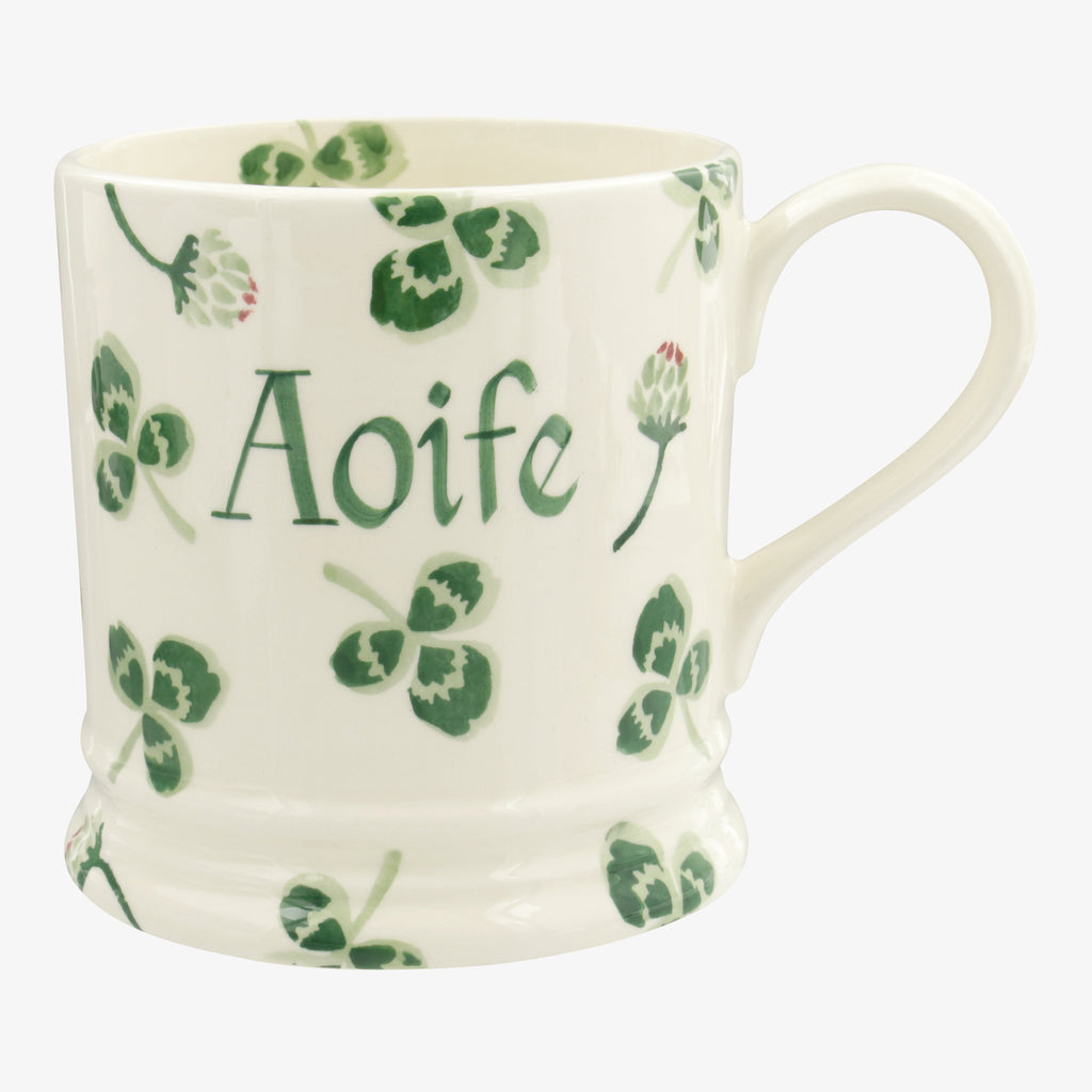 Personalised Clover Flower 1 Pint Mug