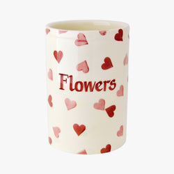 Personalised Pink Hearts Medium Vase