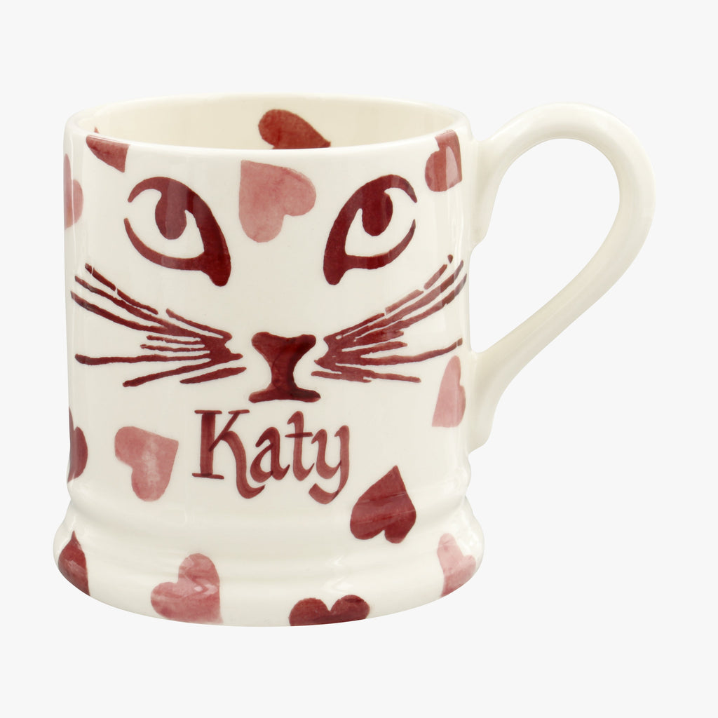 Personalised Pink Hearts Pussycat 1/2 Pint Mug