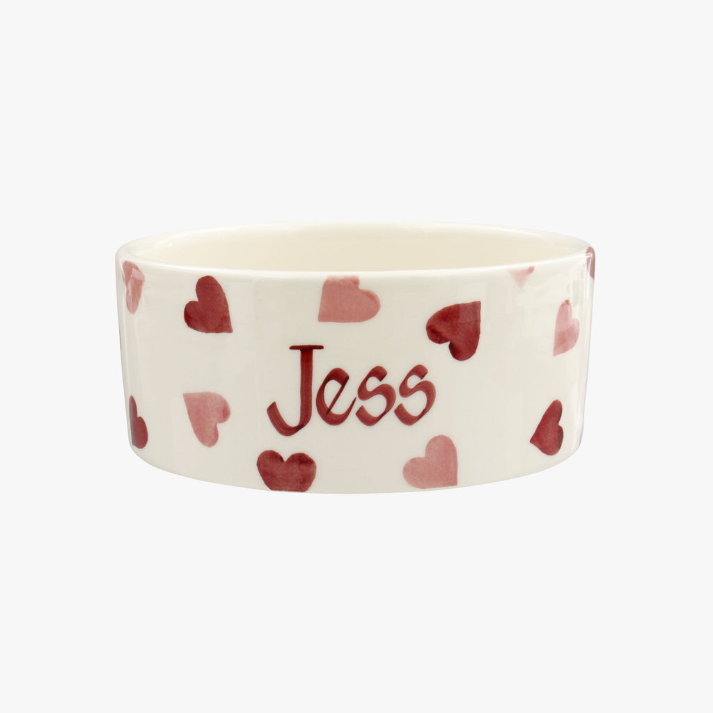 Personalised Pink Hearts Pussycat Small Pet Bowl
