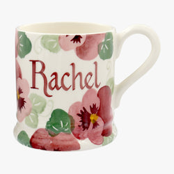 Personalised Pink Pansy 1/2 Pint Mug