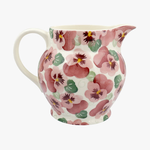 Personalised Pink Pansy 3 Pint Jug