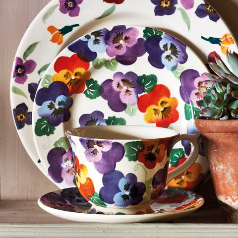 Purple Pansy Large Teacup & Saucer Boxed