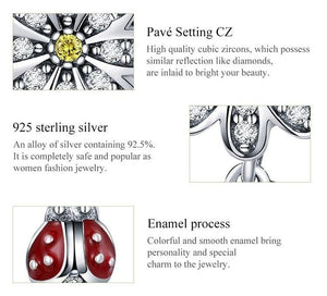 Beautiful Sterling silver 925 sterling Sterling Silver Enameled Ladybug Charm