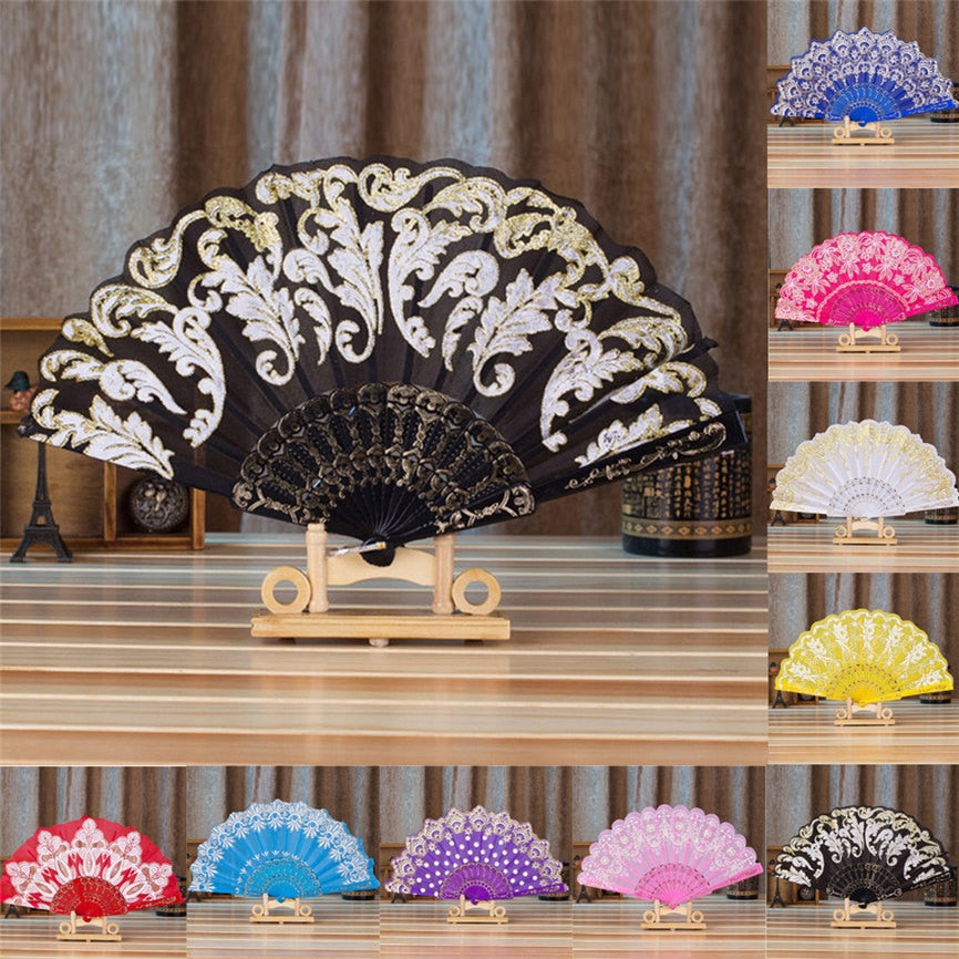 Chinese//Spanish Style Dance Wedding Party Lace Silk Folding Hand Held Flower Fan