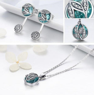 925 Sterling Tree of Life Pendant Necklace with Green Crystal CZ chain for women