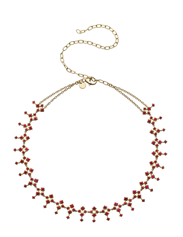 Rhombus Gold Red Ruby Choker