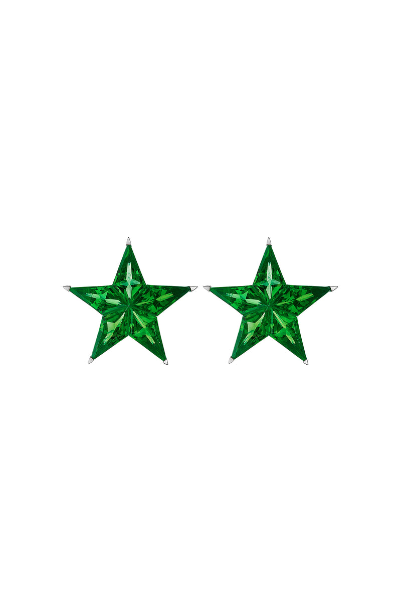 White Gold Star Earrings