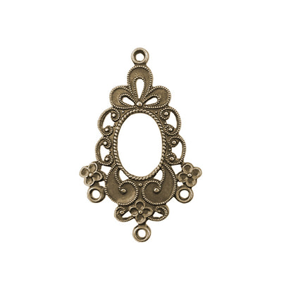 Made in the USA 2 pieces Antiqued Brass Vintage Design Flower Petal Drop