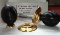 Winsor Beehive  Door Knobs Victorian Style Ebonised Wood