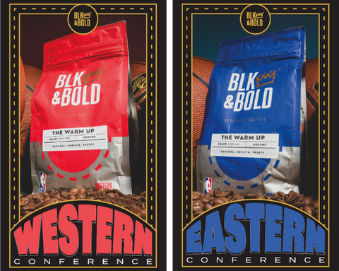 """Two versions of the BLK & Bold x NBA Conference Finals bags are side by side. The western conference (red) card is on the left, and the eastern conference (blue) card is on the right. Each card is outlined in black with gold trim, featuring the words """"Western"""" and """"Eastern"""" respectively with the words in an arch formation with the center of each word bubbling larger than the ends."""
