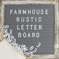 Grey 10x10 Farmhouse Shabby Chic Rustic Letter Board