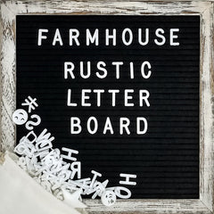 Black 10x10 Farmhouse Shabby Chic Rustic Letter Board