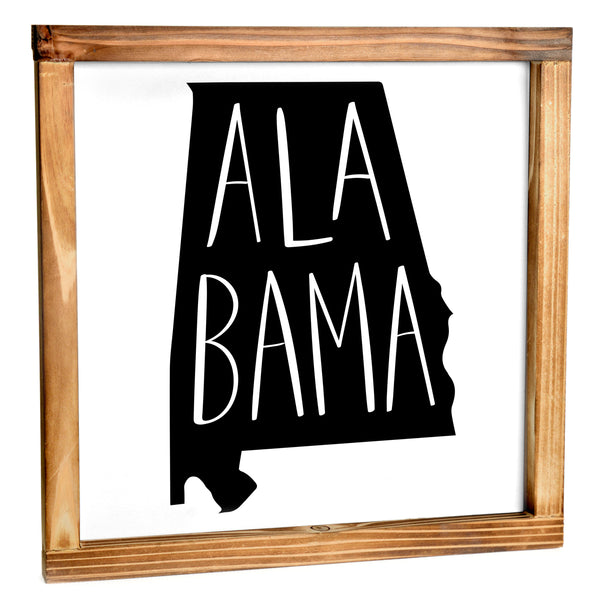 Alabama Sign - Rustic Farmhouse Decor For The Home Sign, Farmhouse State Gift 12x12