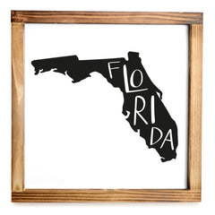 Florida Sign - Rustic Farmhouse Decor For The Home Sign, Farmhouse State Gift 12x12