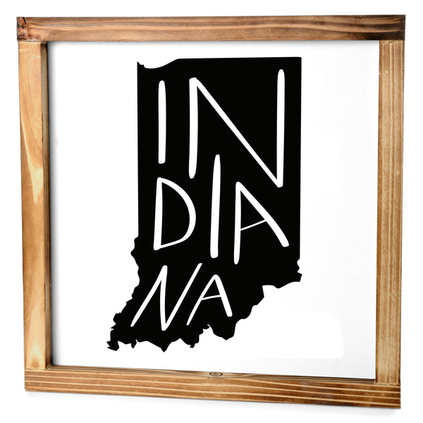 Indiana Sign - Rustic Farmhouse Decor For The Home Sign, Farmhouse State Gift 12x12